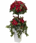 4' Poinsettia Berry Topiary Silk Tree with Decorative Planter