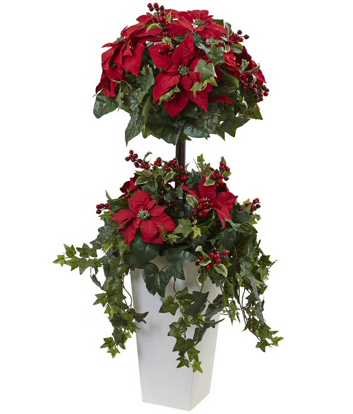 Poinsettia berry topiary silk tree with decorative