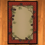 4' x 5' Delicate Pines Red Nature Rectangle Rug