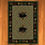 4' x 5' Patchwork Bear and Pinecones Green Wildlife Rectangle Rug