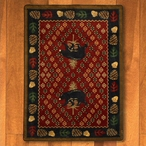 4' x 5' Patchwork Bear and Pinecones Red Wildlife Rectangle Rug