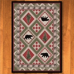 4' x 5' Quilted Forest Pine with Bears Wildlife Rectangle Rug