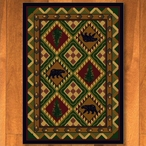 4' x 5' Quilted Forest Woodland with Bears Wildlife Rectangle Rug