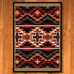 4' x 5' Rustic Cross Black Southwest Rectangle Rug