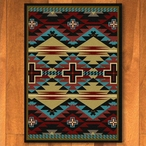 4' x 5' Rustic Cross Blue Southwest Rectangle Rug