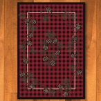4' x 5' Wooded Pines Red Nature Rectangle Rug