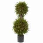 "40"" Cedar Double Ball Topiary with Lights"