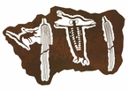 "42"" Barrier Canyon Shaman Petroglyph Metal Wall Art"