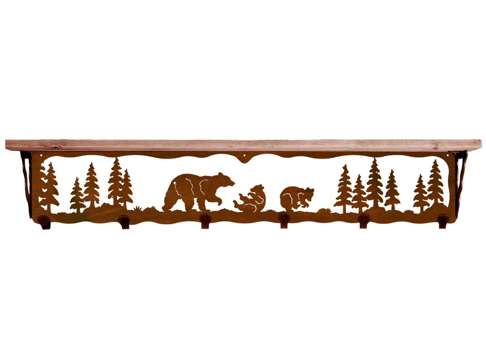 42 bear family metal wall shelf and hooks with alder wood. Black Bedroom Furniture Sets. Home Design Ideas