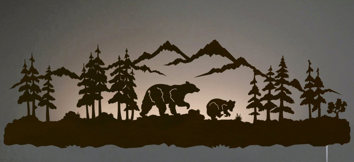 42 black bear family led back lit lighted metal wall art