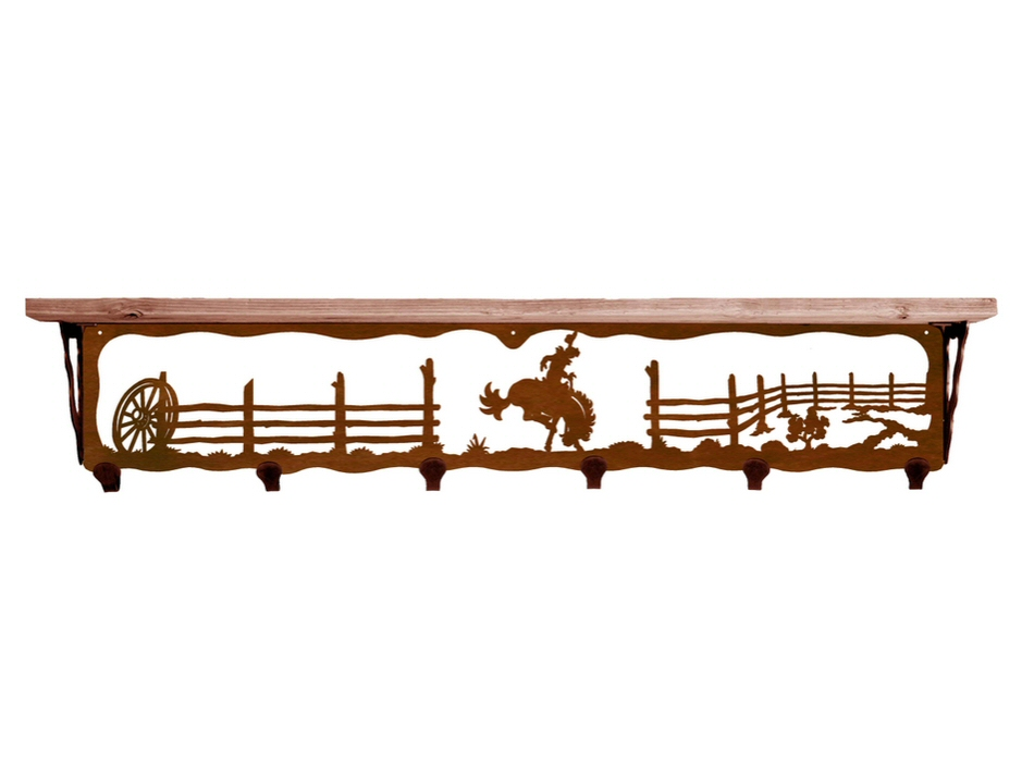 42 bucking bronco rider metal wall shelf and hooks with. Black Bedroom Furniture Sets. Home Design Ideas