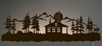 "42"" Cabin in Pine Forest LED Back Lit Lighted Metal Wall Art"