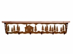 """42"""" Cabin in the Pines Metal Wall Shelf and Hooks with Alder Wood Top"""