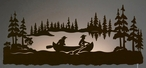 "42"" Canoe Scenic LED Back Lit Lighted Metal Wall Art"