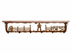 """42"""" Cowboy Scene Metal Wall Shelf and Hooks with Alder Wood Top"""