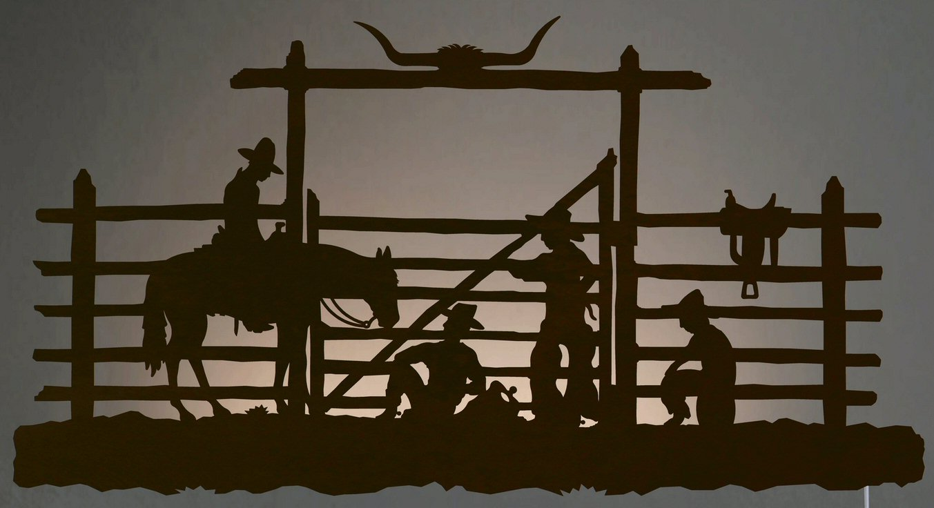 Led Lit Wall Decor : Quot cowboys in the corral led back lit lighted metal wall