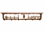 """42"""" Cowgirl Scene Metal Wall Shelf and Hooks with Alder Wood Top"""