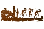 "42"" Dancing Kokopellis Desert Scene Metal Wall Art"