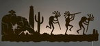 "42"" Dancing Kokopellis LED Back Lit Lighted Metal Wall Art"
