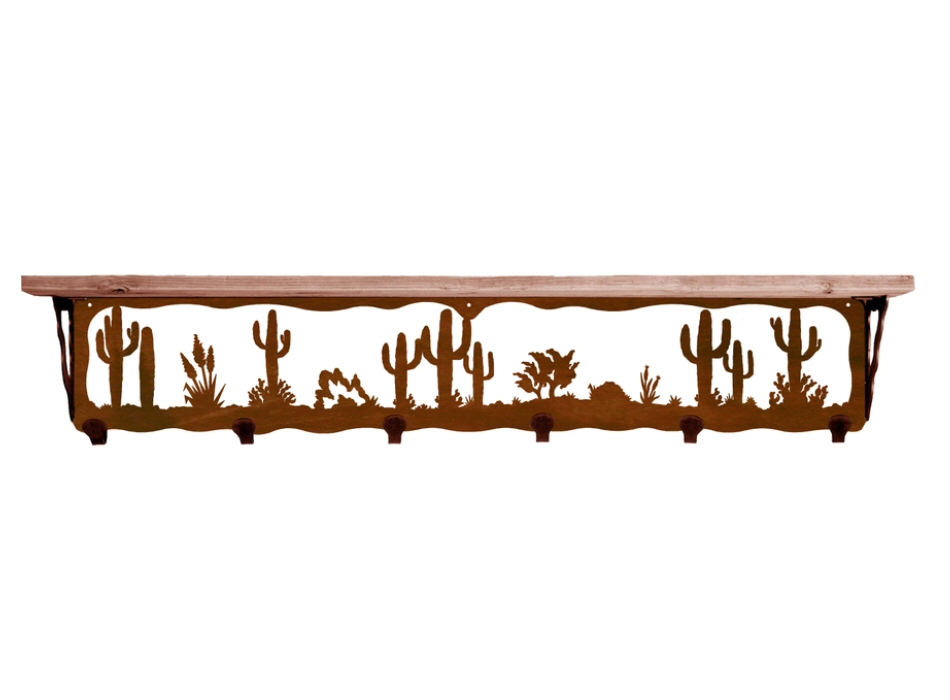 42 desert scene metal wall shelf and hooks with pine wood. Black Bedroom Furniture Sets. Home Design Ideas