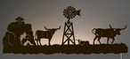 "42"" Longhorn Steers on the Ranch LED Back Lit Lighted Metal Wall Art"