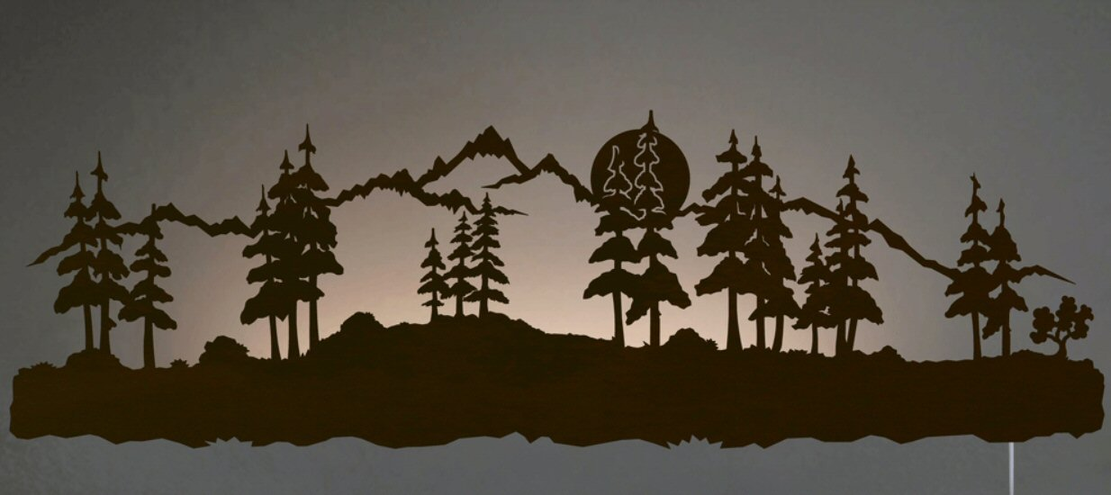 Led Lit Wall Decor : Quot midnight moon with pine trees led back lit lighted