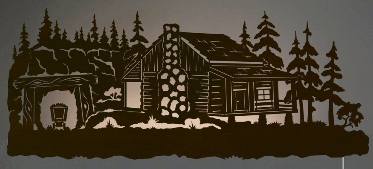 "Cabin Wall Art 42"" mining cabin in pine forest led back lit lighted metal wall"