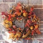 """42"""" Oversized Fall Silk Wreath with Gourds and Berries"""
