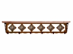 """42"""" Picture Jasper Stone Metal Wall Shelf and Hooks with Pine Wood Top"""