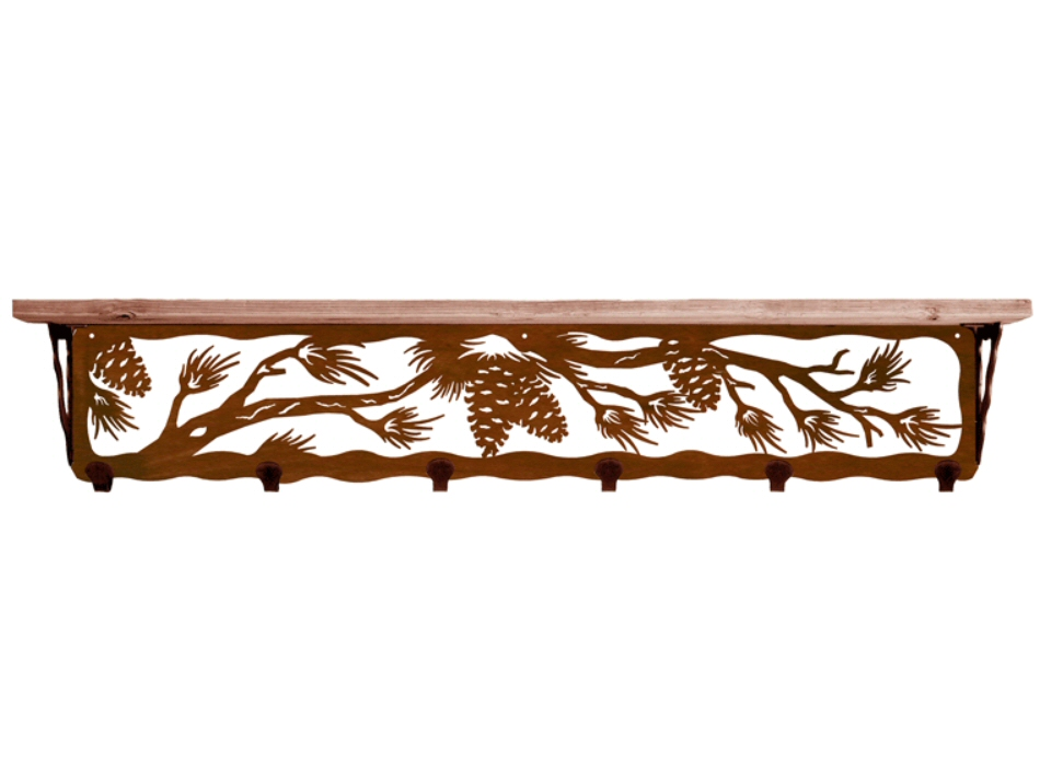 Quot pine cone metal wall shelf and hooks with alder wood
