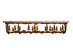 """42"""" Pine Trees Metal Wall Shelf and Hooks with Alder Wood Top"""