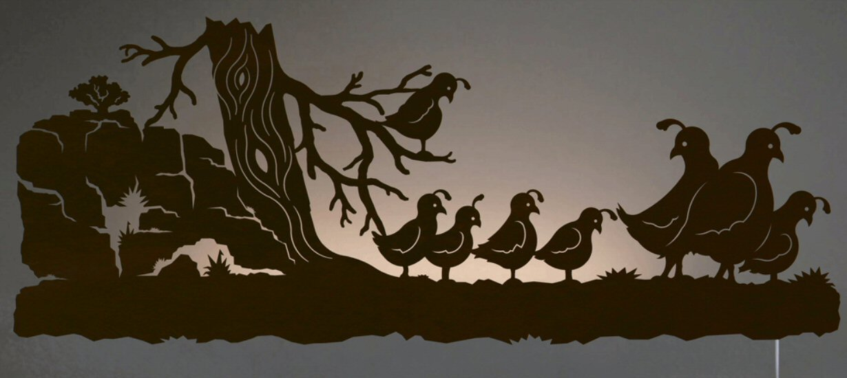 42 quail bird family led back lit lighted metal wall art. Black Bedroom Furniture Sets. Home Design Ideas