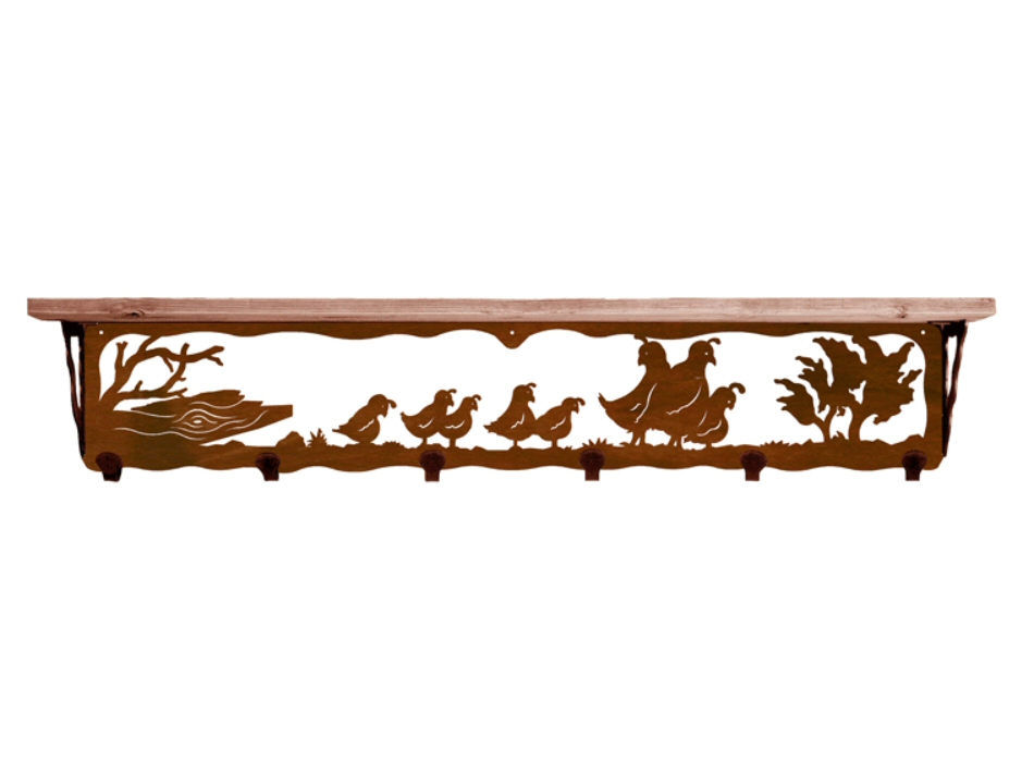 42 quail family metal wall shelf and hooks with pine wood. Black Bedroom Furniture Sets. Home Design Ideas