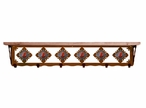"""42"""" Red Jasper Stone Metal Wall Shelf and Hooks with Pine Wood Top"""