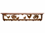 """42"""" Rooster Bird Metal Wall Shelf and Hooks with Alder Wood Top"""