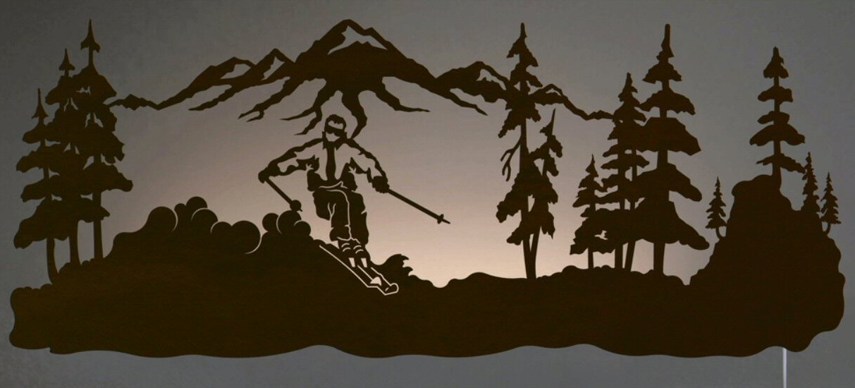 42 Skier Led Back Lit Lighted Metal Wall Art