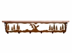 """42"""" Snowboarder Metal Wall Shelf and Hooks with Pine Wood Top"""
