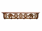 """42"""" Southwest Metal Wall Shelf and Hooks with Alder Wood Top"""