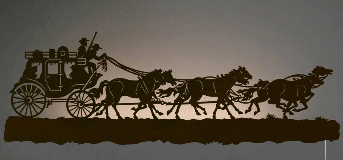42 Stage Coach With Horses Led Back Lit Lighted Metal