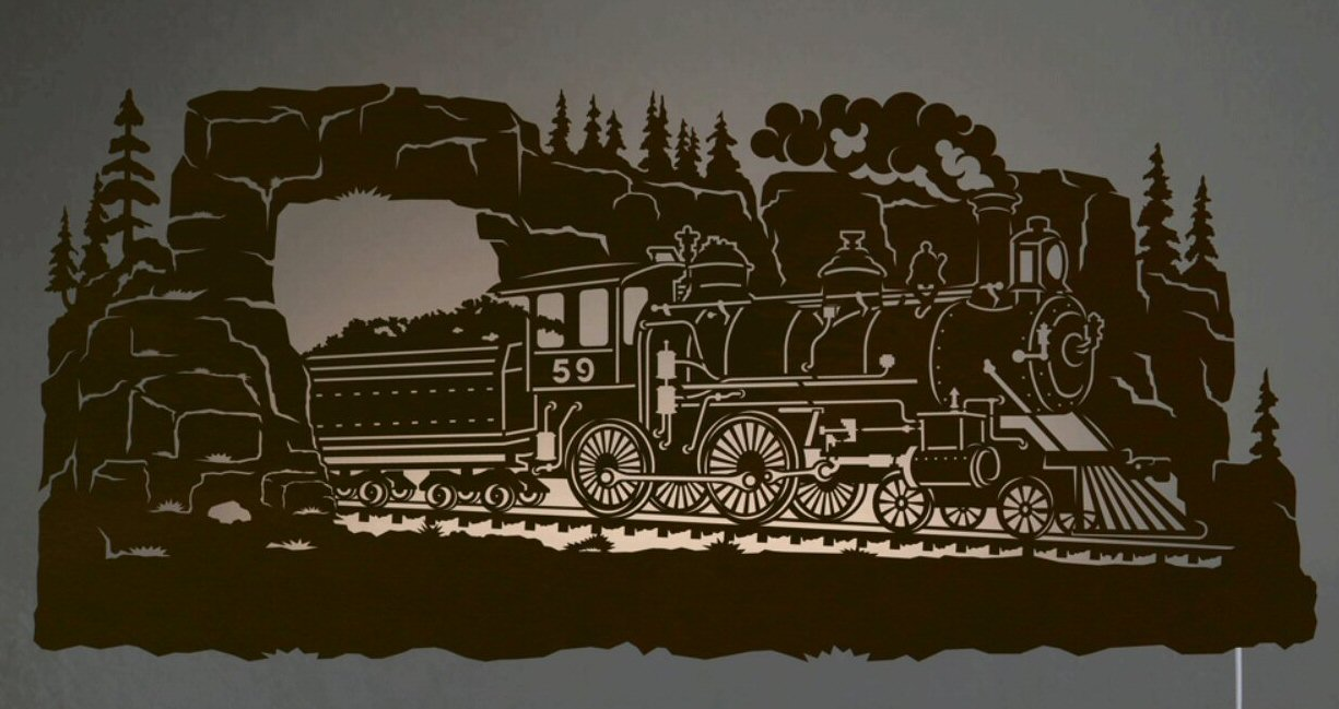 "Lighted Wall Decor 42"" steam locomotive train scenic led back lit lighted metal wall"