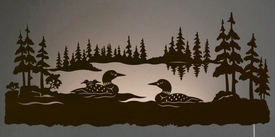 "Family Metal Wall Art 42"" swimming loon family scenic led back lit lighted metal wall"