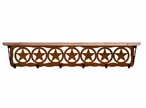 """42"""" Texas Star Metal Wall Shelf and Hooks with Alder Wood Top"""