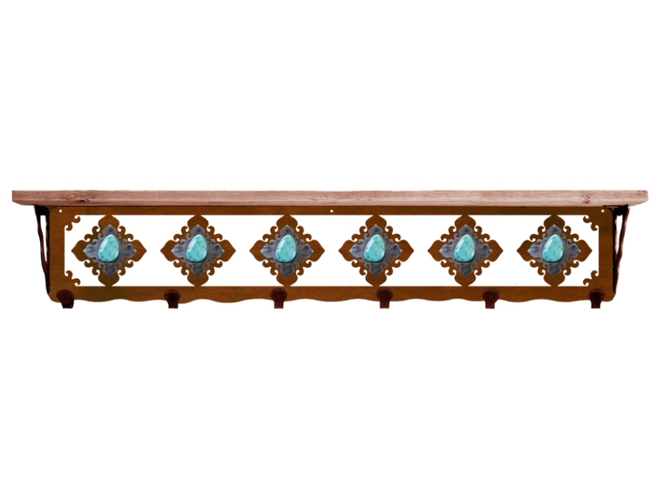 Quot turquoise stone metal wall shelf and hooks with alder