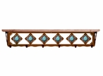 """42"""" Turquoise Stone Metal Wall Shelf and Hooks with Pine Wood Top"""