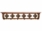 """42"""" Unakite Stone Metal Wall Shelf and Hooks with Alder Wood Top"""