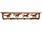 """42"""" Wild Horses Metal Wall Shelf and Hooks with Pine Wood Top"""