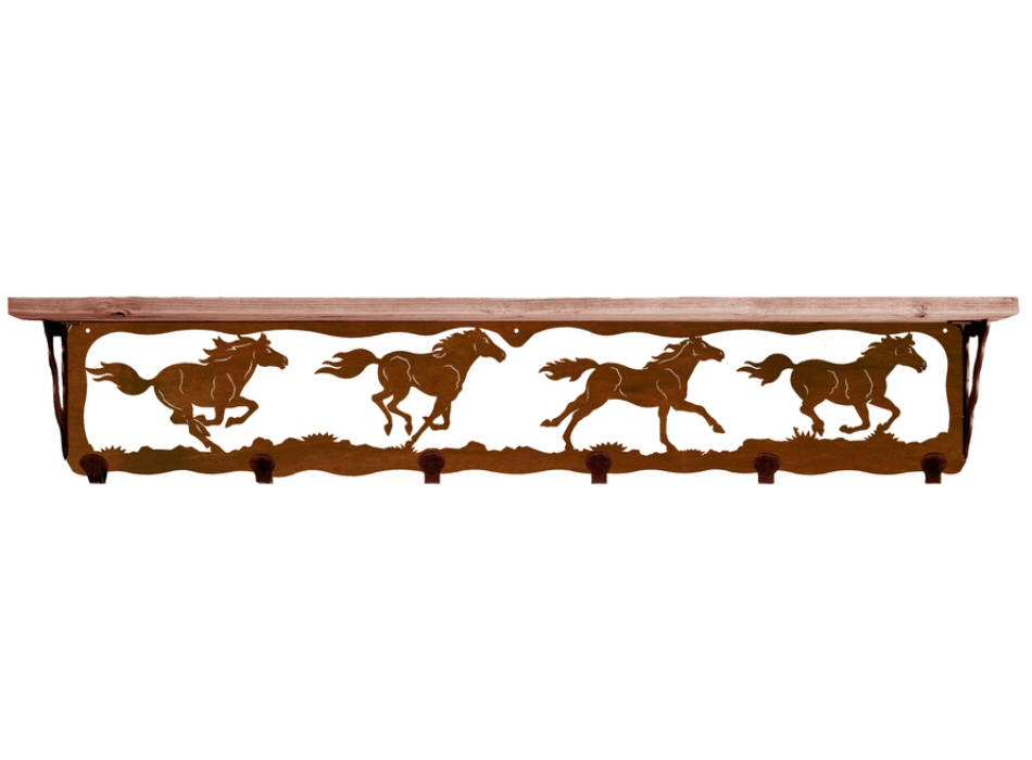 42 wild horses metal wall shelf and hooks with pine wood. Black Bedroom Furniture Sets. Home Design Ideas