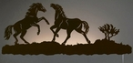 "42"" Wild Horses Playing LED Back Lit Lighted Metal Wall Art"