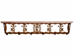 """42"""" Yei Metal Wall Shelf and Hooks with Alder Wood Top"""