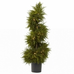 "43"" Silk Cedar Spiral Topiary with Lights"